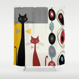 Mid-Century Modern Art Cats Shower Curtain
