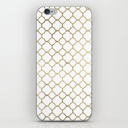 Elegant stylish white faux gold quatrefoil iPhone Skin