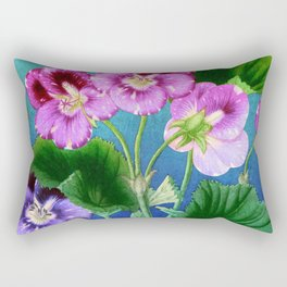 Pansies on Blue Rectangular Pillow