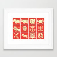 zodiac Framed Art Prints featuring Zodiac by KOMBOH