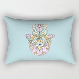 Hamsa On Turquoise Rectangular Pillow