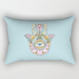 Hamsa On Turquoise Rectangular Pillow