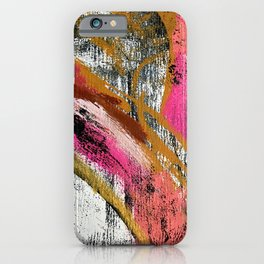 Motivation [3] : a colorful, vibrant abstract piece in pink red, gold, black and white iPhone Case