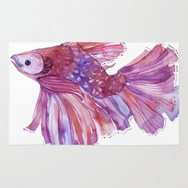 Fish watercolor fight Rug