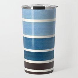 Green Blue Minimalist Watercolor Mid Century Staggered Stripes Rothko Color Block Geometric Art Travel Mug