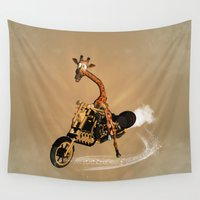 motorbike Wall Tapestries featuring Funny giraffe by nicky2342