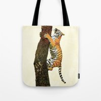 climbing Tote Bags featuring Tree Climbing by Peaky40