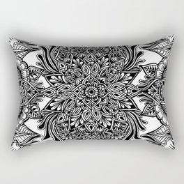 Freehand Symmetry Full Page B&W Mandala Rectangular Pillow