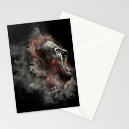 Burning face of man art Stationery Cards