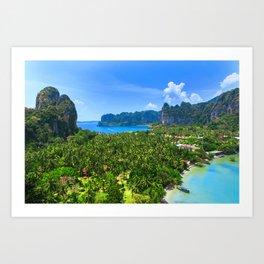 Palm Tree Tropical Thailand Island Bay Art Print