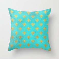 Queenlike on aqua I  Gold Heraldry elements on turquoise background Throw Pillow