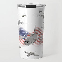 American Air Force Armada AC130 F22 F16 A10 Travel Mug