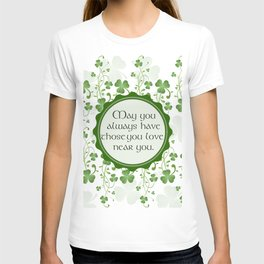 Irish Blessing Shamrock Background T-shirt