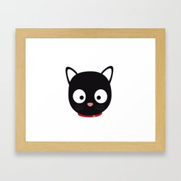 Cute black cat with red collar Framed Art Print