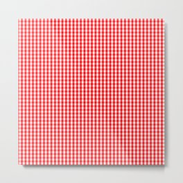 Small Snow White and Christmas Red Gingham Check Plaid Metal Print