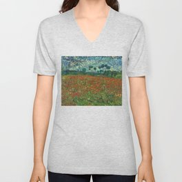 Vincent Van Gogh Poppy Field Unisex V-Neck