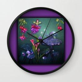 Beautiful Fuchsia Faerie Garden Wall Clock