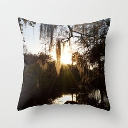 Afternoon Glow Upon Moss Covered Trees In New Orleans Throw Pillow