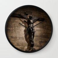christ Wall Clocks featuring Jesus Christ by Villads Andersen