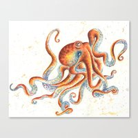 octopus Canvas Prints featuring Octopus by Patrizia Ambrosini