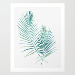 Twin Palm Fronds - Teal Art Print