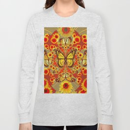 RED YELLOW MONARCH BUTTERFLY WORLD FLORALS MODERN ART Long Sleeve T-shirt