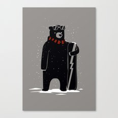 Bear on snowboard Canvas Print