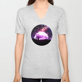 Lone tree over rising pink moon Unisex V-Neck