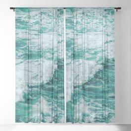 Teal Ocean Sea Waves - Summer Tropical Beach Sheer Curtain