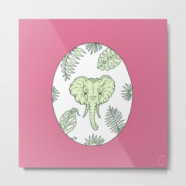 Elephant Face With Tropical Plants Design Metal Print