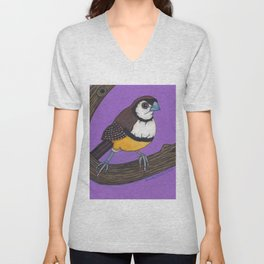Owl Finch on Branch with Purple Sky, colored pencil, 2010 Unisex V-Neck