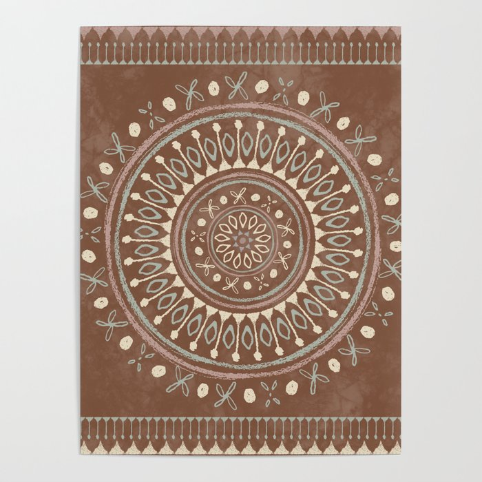 """""""Astral Lullaby"""" in Neutral Brown, Yellow, Green Poster"""