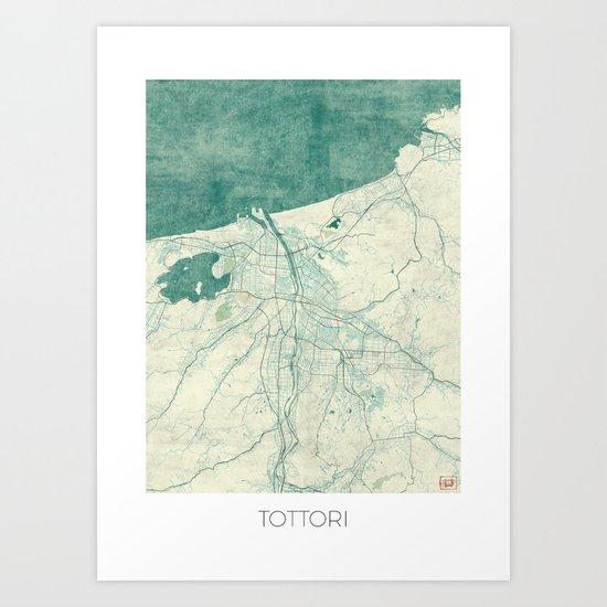 Tottori Map Blue Vintage Art Print
