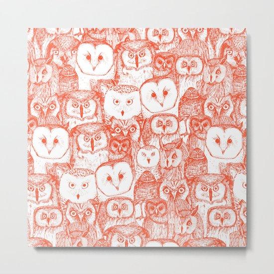 just owls flame orange Metal Print