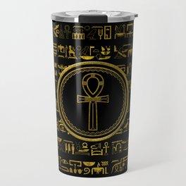 Gold Egyptian Ankh Cross symbol Travel Mug
