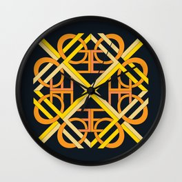 Interlaced Love Mandala - Black Gold Wall Clock