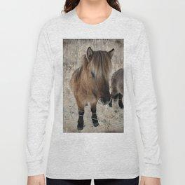 snowy Icelandic horse Long Sleeve T-shirt