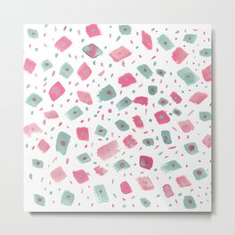 Hand painted pink pastel green watercolor brushstrokes confetti Metal Print