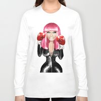 nicki Long Sleeve T-shirts featuring Nicki M. Boxing realistic caricature by Danna Victoria