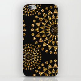 Gold glamour faux glitter ornament shimmering black iPhone Skin