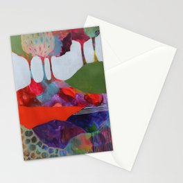 Day 3 In The Woods, Contemporary Abstract Landscape Stationery Cards