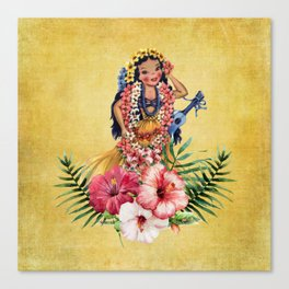 Hula Doll With Ukelele and Big Pink Flowers Canvas Print