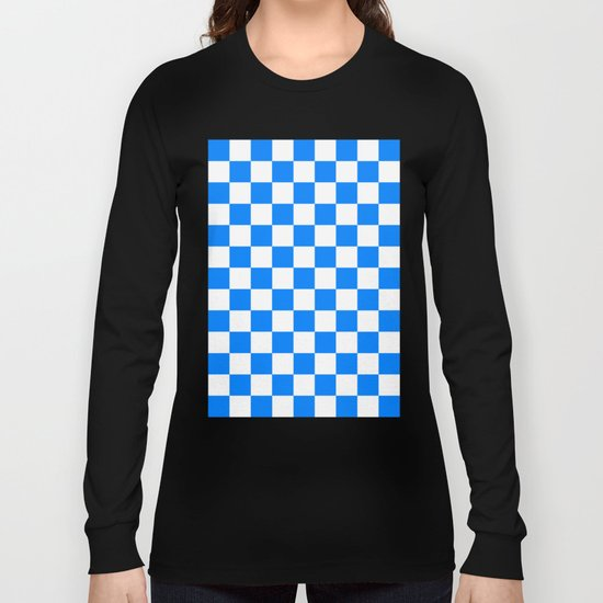 Checker (Azure/White) Long Sleeve T-shirt