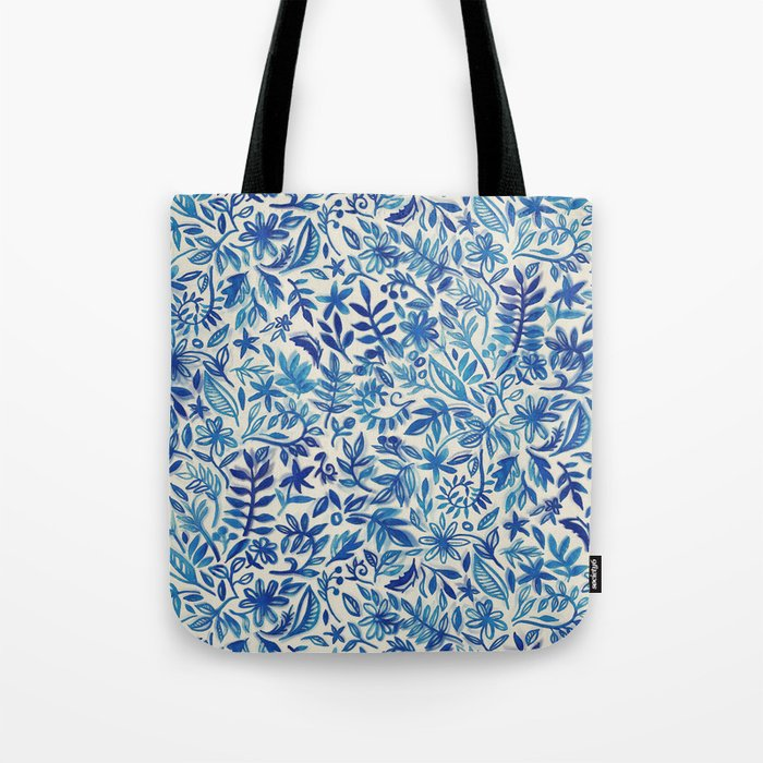Floating Garden - a watercolor pattern in blue Tote Bag