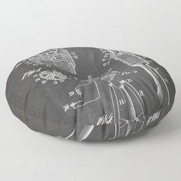 Rocket Ship Patent - Nasa Rocketship Art - Black Chalkboard Floor Pillow
