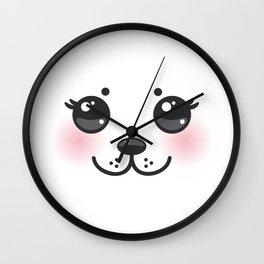 Kawaii funny albino animal white muzzle with pink cheeks and big black eyes Wall Clock