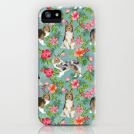 Sheltie shetland sheepdog hawaii floral hibiscus flowers pattern dog breed pet friendly iPhone Case