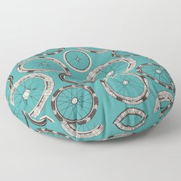bike wheels turquoise Floor Pillow