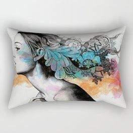 Moral Eclipse II | doodle woman portrait Rectangular Pillow
