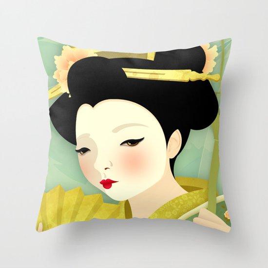 Geisha: Olive Throw Pillow